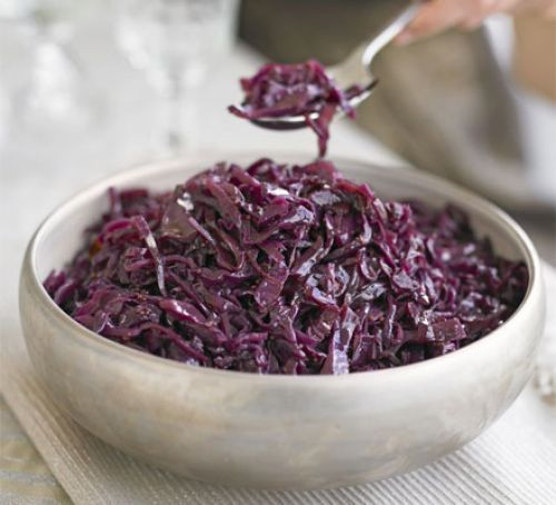 Sticky spiced red cabbage. Braised with ginger and allspice