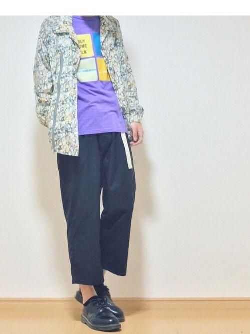 Paul Smithの紫のTシャツ古着屋で買ったから適当に合わせてみた🕺 その時手元にあった服で合