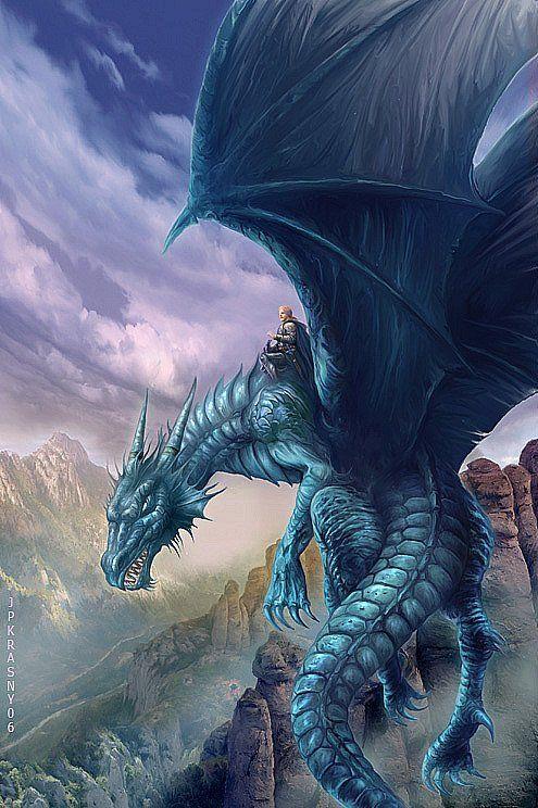 El Dragón Azul de Agua, montado por el Jinete de Dragones Dolano Morgülli.