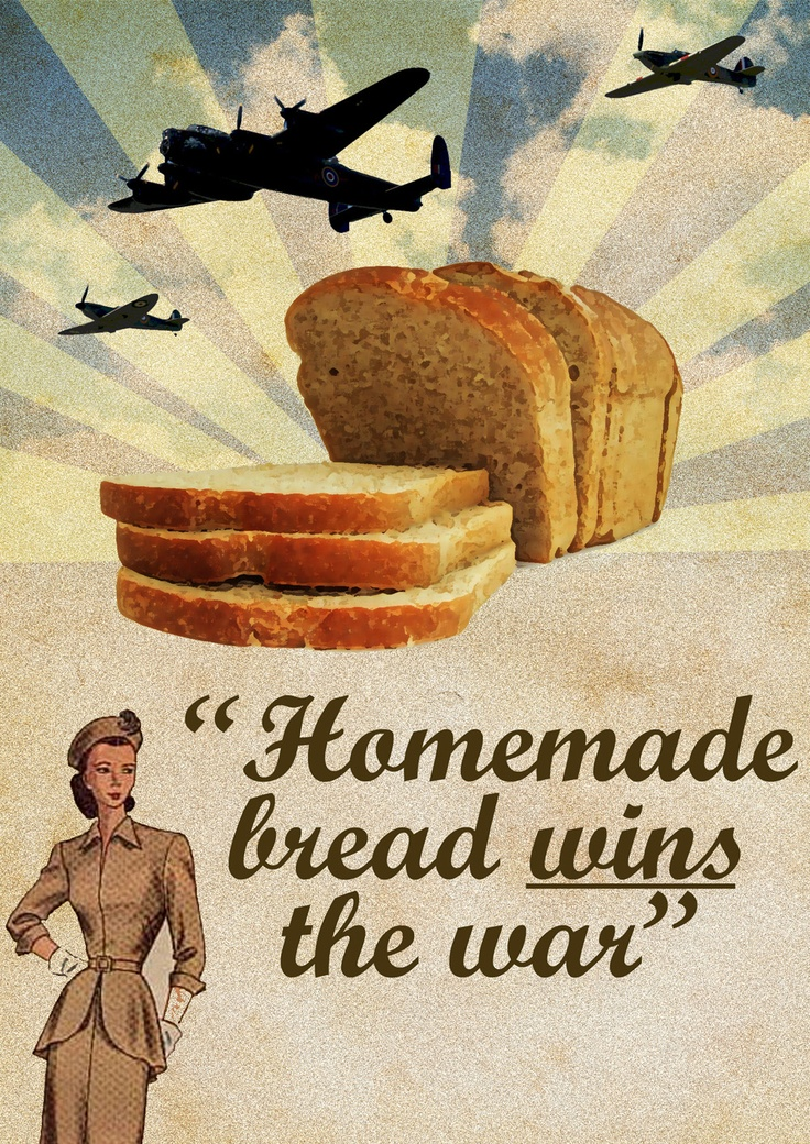If the girl in the corner is any indication, homemade bread apparently had no carbs in 1945. #WWII: