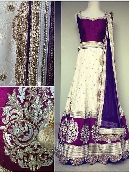 Elegent purple & white lengha alongside beautiful jewels