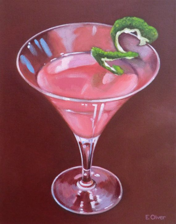 Cosmopolitan cocktail drink giclee print from original for Paint and cocktails