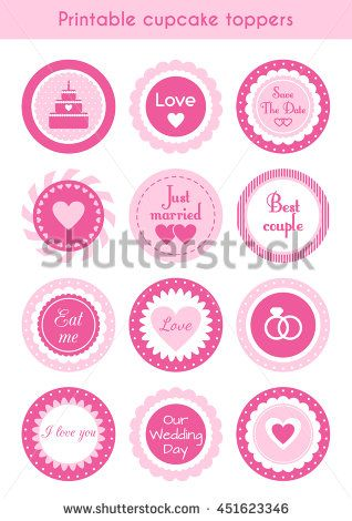 Vector set of circle pink printable cupcake toppers, labels for wedding party