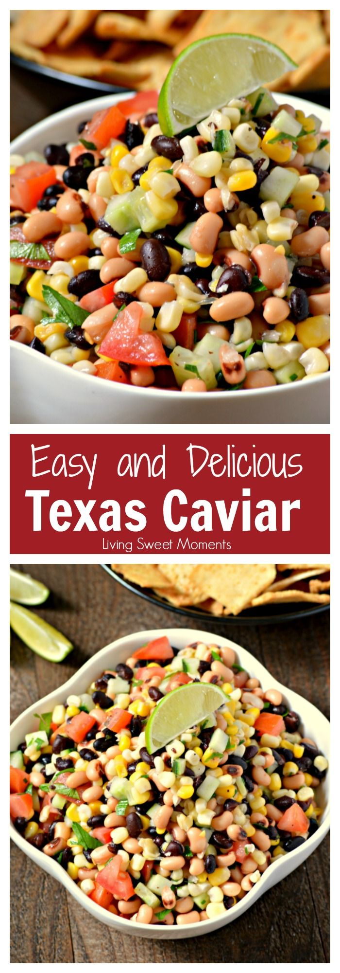 This amazing Texas Caviar Dip recipe is the perfect appetizer that's easy to make and delicious. Is it also vegan, gluten free & healthy. Better than salsa. More vegan recipes at livingsweetmoments.com  via @Livingsmoments