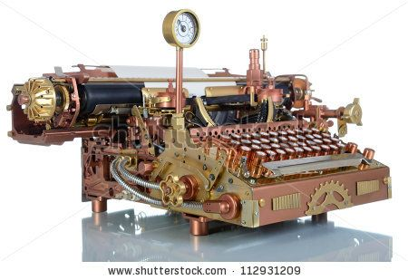 stock photo : Steampunk style future Typewriter. Hand/home made model.