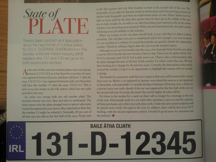 Our Press Officer Suzanne Sheridan was interviewed for this month's Irish #Tatler Magazine on the new number plate