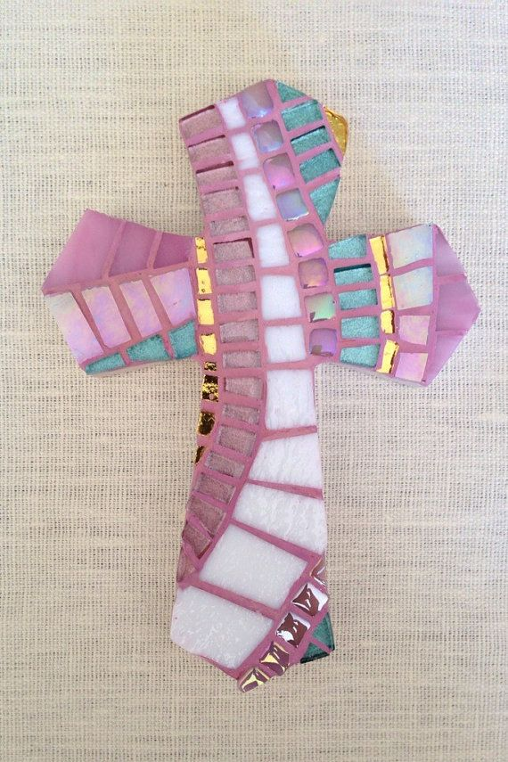 Gift for Goddaughter, Baptism Gift for Girl, First Communion Gift, Mosaic Wall Cross, Christening Cross, Confirmation, Decorative Cross