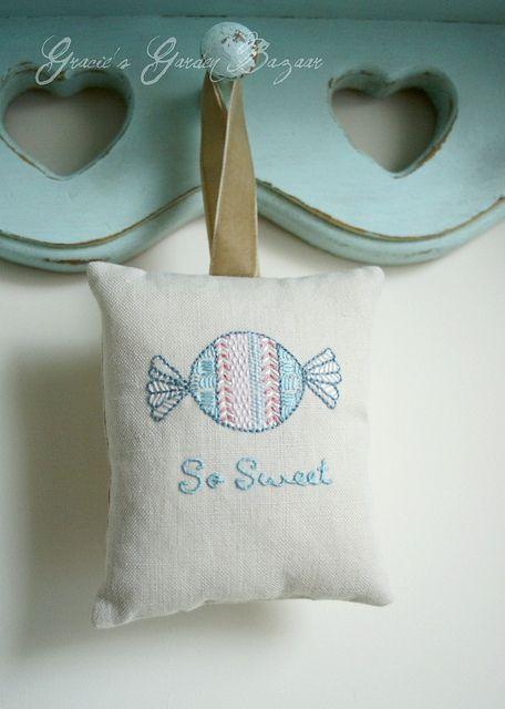 inspiration | Embroidered lavender bag by Gracie's Garden Bazaar, via Flickr