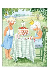 Strawberry cake in the garden.  Lena Anderson