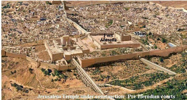 Temple Mount Progression -1000 BC to 70 AD/   Herod's Temple - 20 BC to 26 AD 20 BC - Herod disassembles old Temple and begins work on new Temple.  By the death of Herod, in 4 BC, the inner Sanctuary, including Temple, Priest court, Woman's court, and inner walls, were completed.  Fort Antonia was also completed. The Jewish Temple most likely remained within the old walls while the Herod/Herodian extended courts were being built during the 1st century.