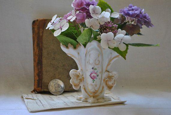 Antieke Hand geschilderd Napoleon III Parijs porseleinen vaas, Vintage vazen, Frans land Decor, Vintage Photo Prop