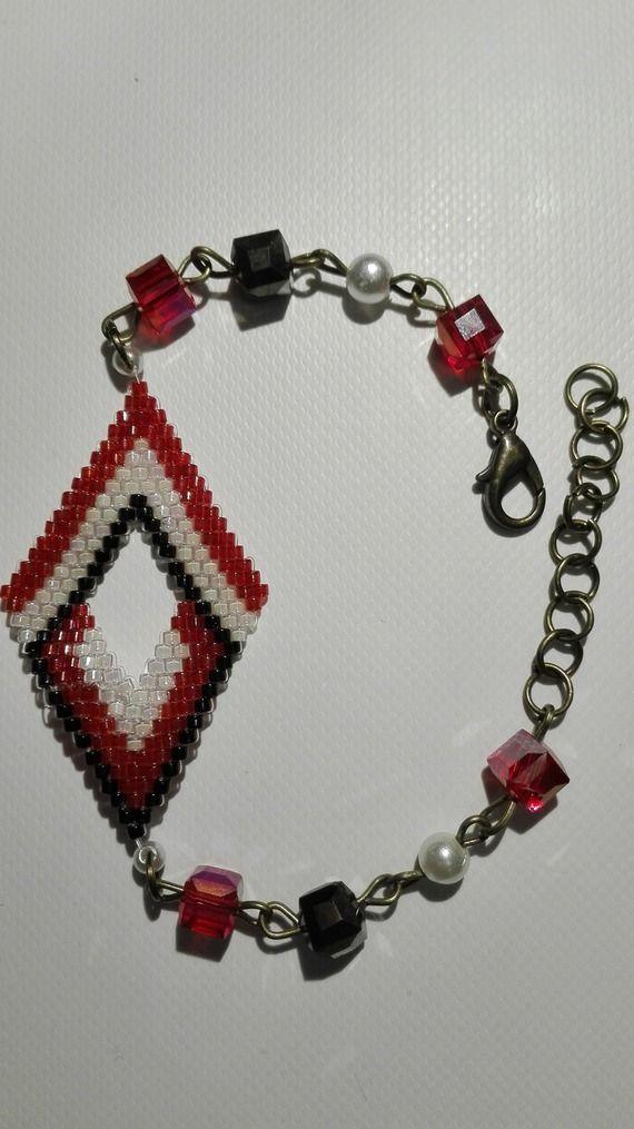 Bracelet bronze tissé en losange -perles miyuki  blanc- rouge-noir