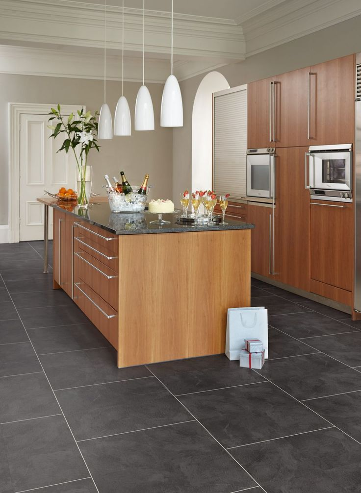Atlantic Slate Camaro Luxury Vinyl Tile Flooring In Brickwork Layout Featured In Kitchen