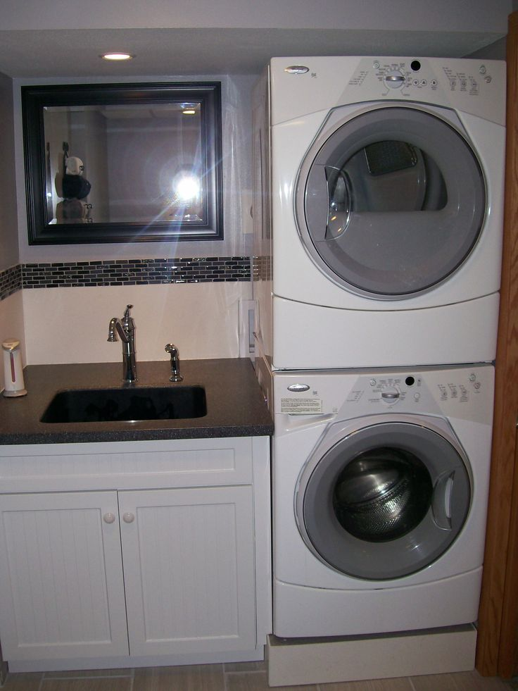 We combined a small bathroom with a laundry room. Total room about 6x12 .