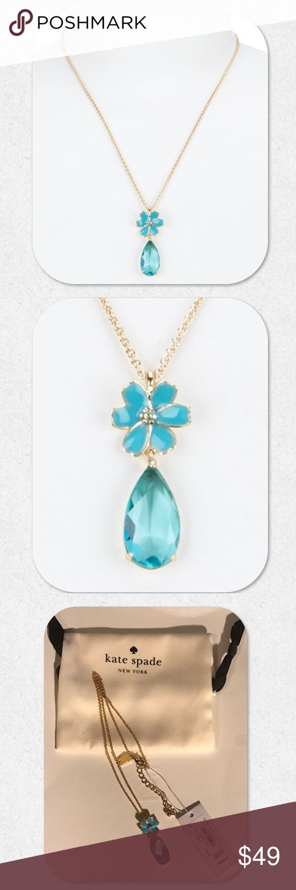 "kate spade Flower & Teardrop Pendant Necklace From the Here Comes the Sun collection by kate spade new york, this necklace features: * 12K gold-plated metal; glass * lobster clasp closure * approx. 17"" length. Dust bag included. NWT kate spade Jewelry Necklaces"