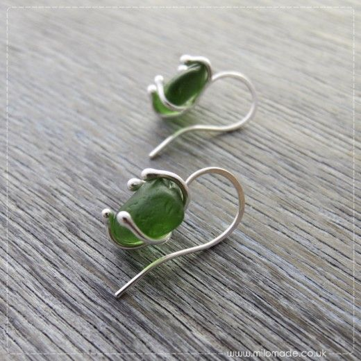 Commission - Green Sea Glass Drop Earrings                                                                                                                                                     More