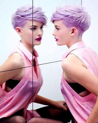 Lavender hair + deep magenta lip