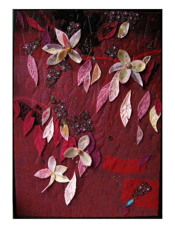 """""""Hanging garden"""" felting, application, embroidery Marijke Leertouwer"""