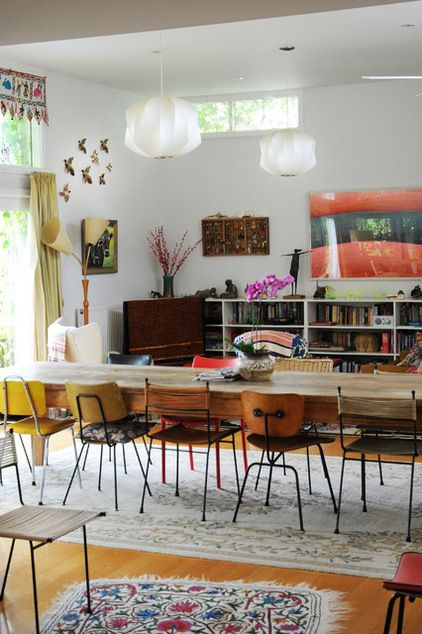 eclectic dining room by Luci.D Interiors via Houzz | George Nelson Propeller Lamp | http://modernica.net/propeller-lamp.html