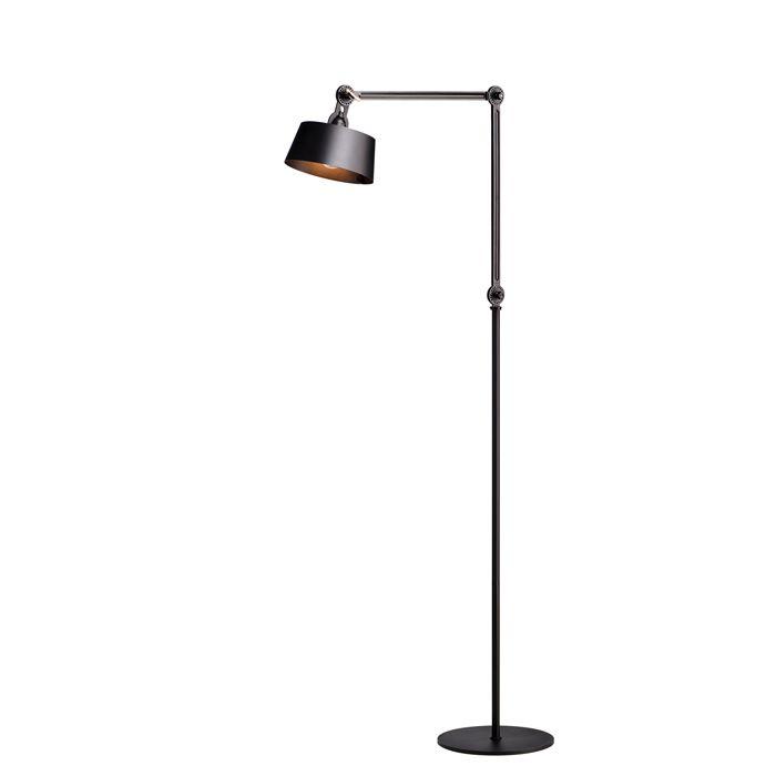 Tonone Vloerlamp Floor Long Dubble Arm Smokey Black Vloerlamp Verlichting Lampen
