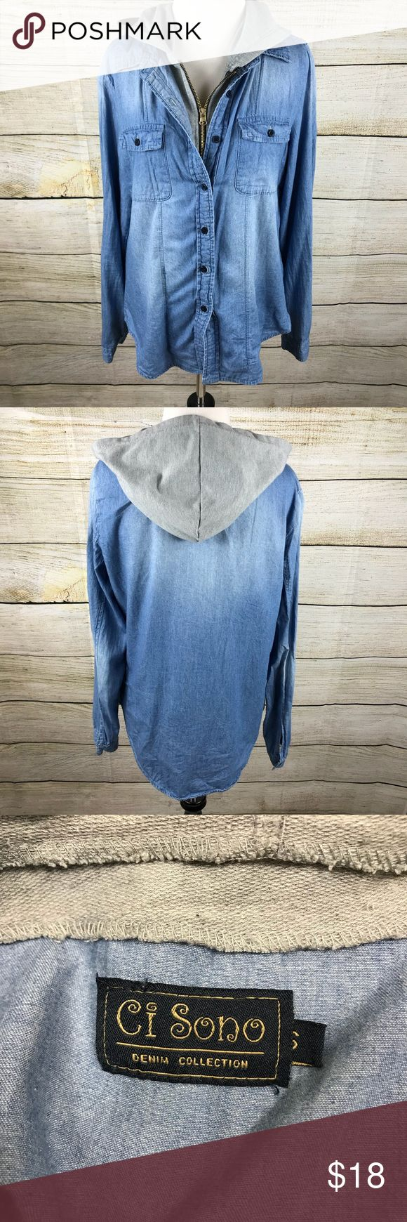 Ci Sono Denim Zip Up Excellent preowned condition. Size small. Denim with grey sweatshirt material along zipper and hood. Sleeves button at ends. Zips and buttons up.25 inches long in front, 27 inches in back. 20.5 inches armpit to armpit. Two button pockets on front. Ci Sono Ci Sono Tops Button Down Shirts