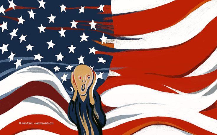 @Ivan Canu for salzmanart.com, Scream America - Elections 2016, opening for Die Zeit #editorial #election #scream #munch #flag #starsandstripes #newspaper #illustration #digitalart