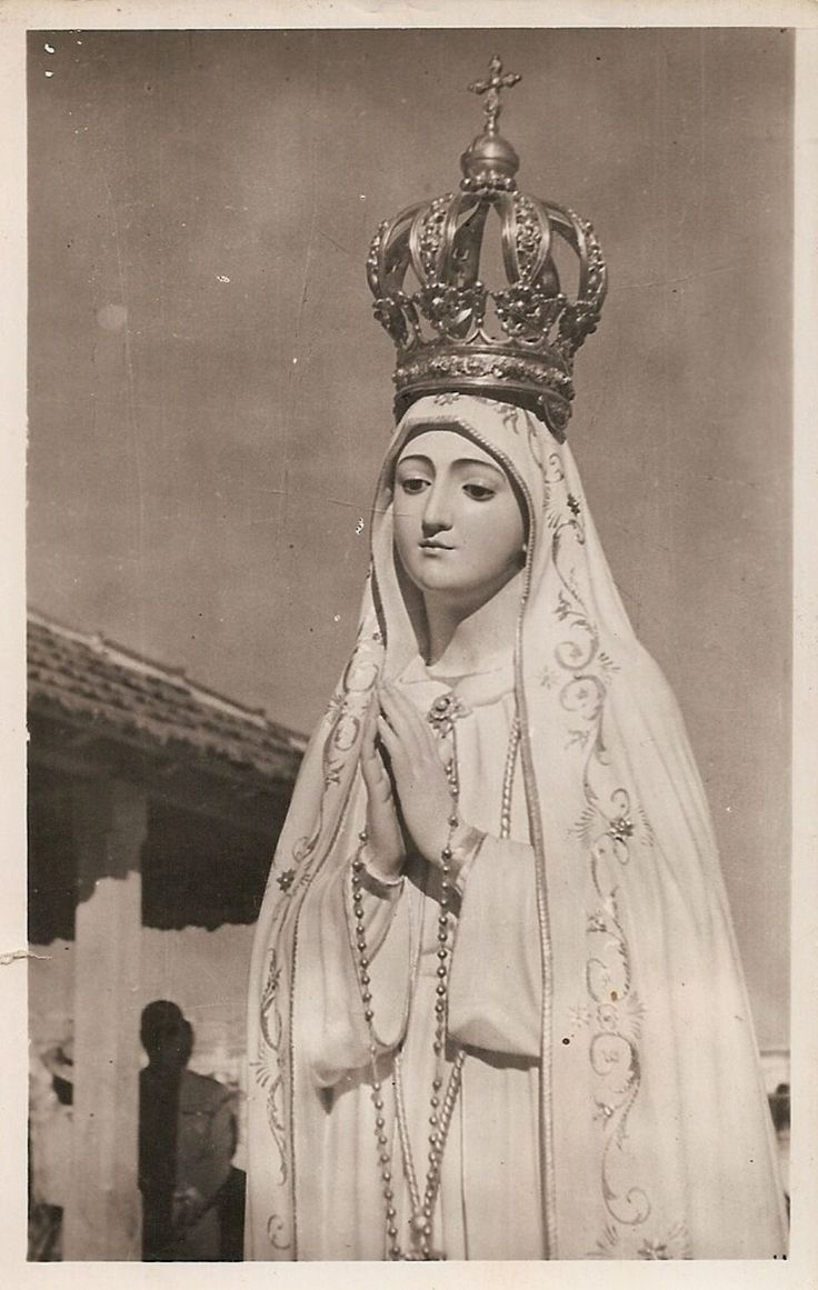 """allaboutmary: """" Nossa Senhora do Rosario A vintage postcard of the original statue of Our Lady of the Rosary of Fatima. This year marks the centenary of the apparitions of Our Lady of Fatima, which took place in 1917. Pope Francis will visit the..."""