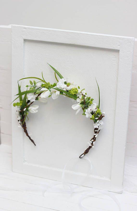 Spring Flower Crown Snowdrops Floral Headpiece Bridal Headband Etsy In 2020 Wedding Hair Wreath Bridal Flower Crown Flower Crown
