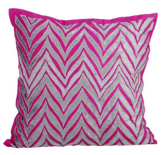 Designer Throw Pillows Cover 16x16 Fuchsia Pink