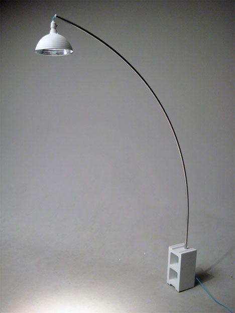 DIY arc lamp - cinder block, work lamp, conduit and paint