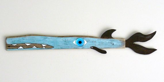 Driftwood funky whimsical found object beach house garden art , Tuna with a 'tude