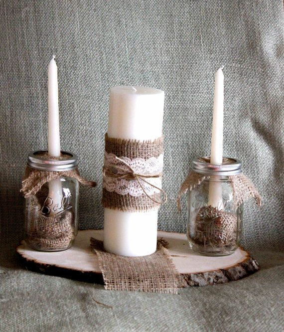 Mason Jar, Burlap, and Lace Unity Candle Complete Set: Masons, Mason Jars Burlap And Lace, Complete Sets, Burlap And Lace Unity Candles, Mason Jar Burlap, Candles Mason Jars, Candles Ideas, Candles Complete, Burlap Unity Candles