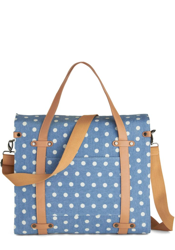 Camp Director Tote in Day Camp - Blue, Tan / Cream, White, Polka Dots, Casual, Variation, Exclusives, Work, Woven, Spring, Travel, Best Seller, Graduation, Top Rated, Summer, Gals, Fall, Press Placement