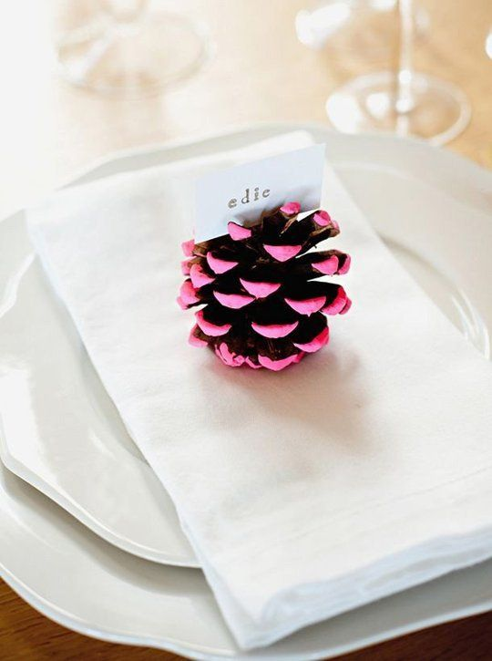 Pine cones with just tips brightly painted make one pretty name holder. Winter Entertaining: 10 DIY Place Setting Ideas
