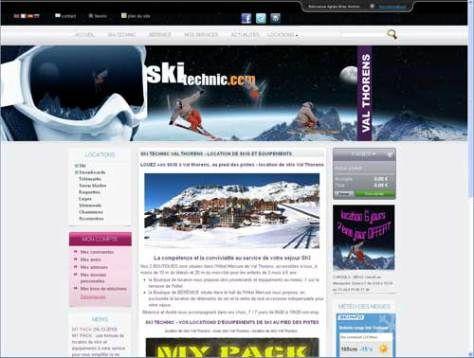 http://www.ski-technic.com, est un site de location de skis à Val thorens. Cette boutique en ligne de location de matériel de sport d'hiver à Val thorens, valorise la géolocalisation du magasin physique située sur les pistes de Val Thorens en accès direct sur les 3 vallées. Ce site en 4 langues dont le russe est totalement en gestion dynamique est géré par André et Bérénice de la société Ski Technic à Val thorens.
