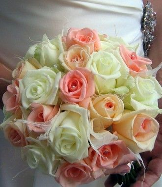 Pink Rose Pearl Wedding Bouquet