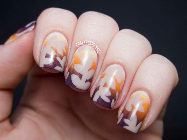 Autumn sunset nail art by chalkboard nails