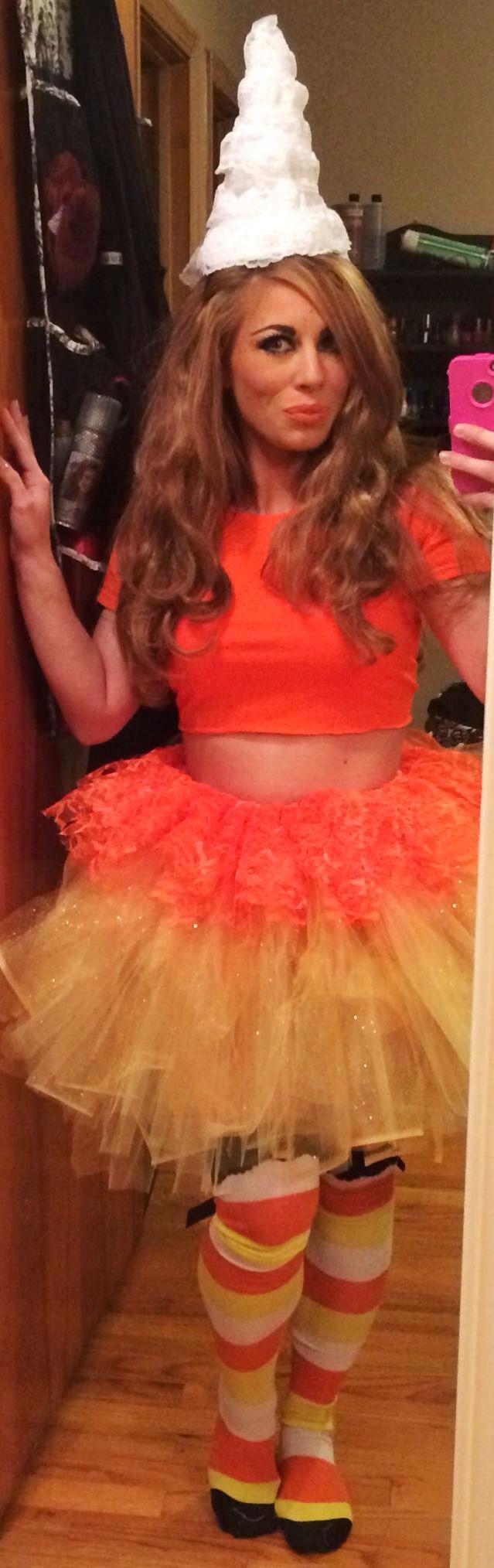 Halloween costume. DIY Halloween costume. Candy corn Halloween costume. Tulle Halloween costume. Adult Halloween costume.