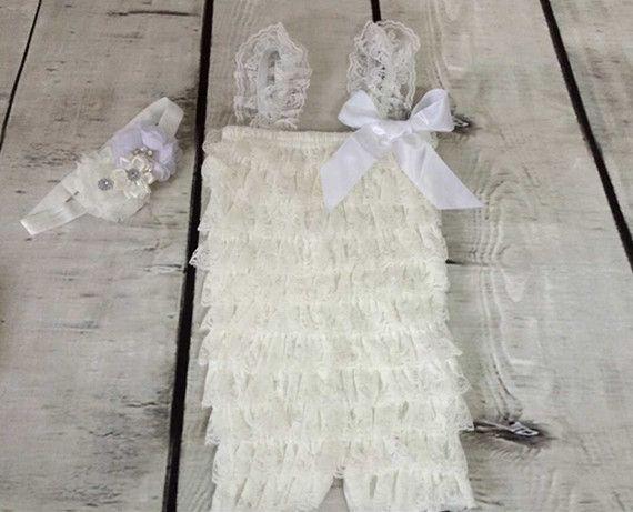 Розничная Детская Одежда, крещение ребенка ползунки, белый Кружева ползунки, детские Девочек Комбинезон Повязка Малышей Экипировка