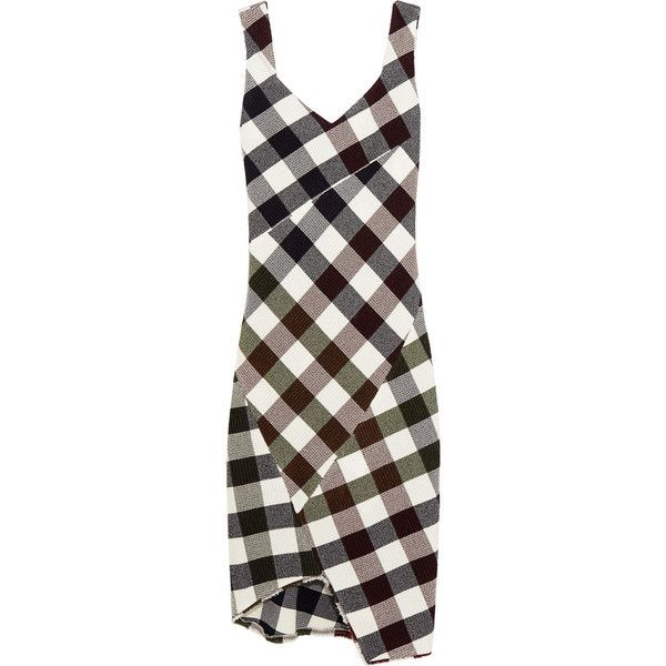 Victoria Beckham Gingham stretch-knit dress (£2,550) ❤ liked on Polyvore featuring dresses, burgundy, anchor dress, slip on dress, textured dress, multicolored dress and high-low dresses