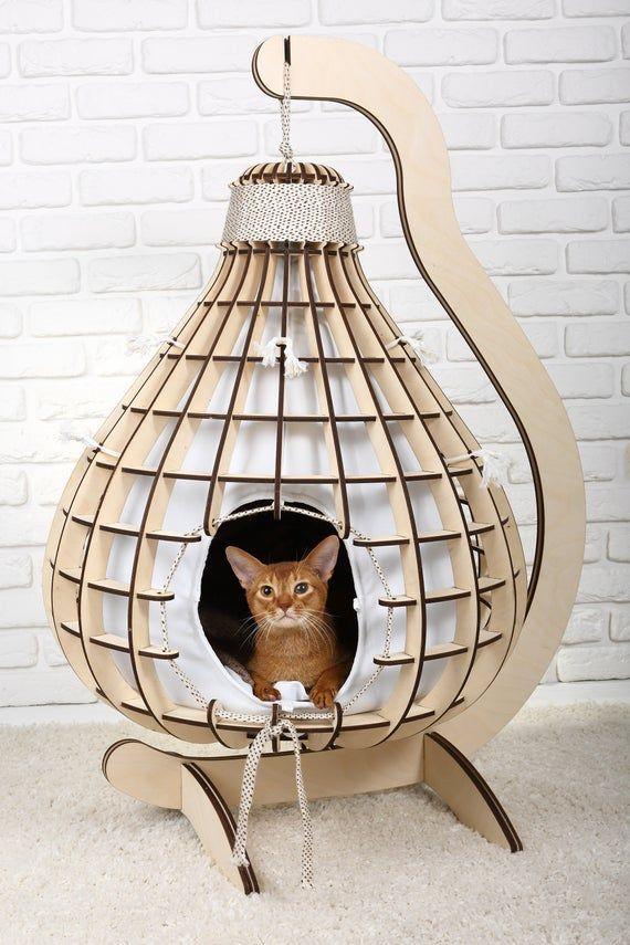 "Casa para gatos Casa para gatos ""Pera"", cama para gatos, regalo para catlover, gabinete para gatos, muebles modernos para gatos, suministros para mascotas"
