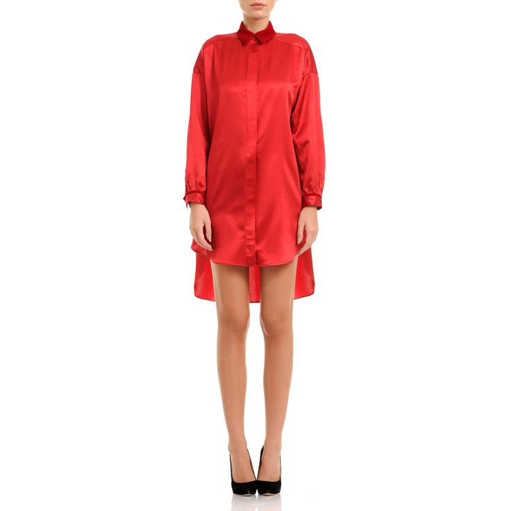 This oversized shirt dress It's cut from pure silk satin with a velvet collar and insertion of velvet at the wrist. Further its vintage feel with statement earrings and nude heels. Red silk satin and velvet 100% silk Fluid textil Wash by hand The model is 176 cm tall and is wearing a size 38. If you need this product made to fit your needs and measures, book an appointment in our studio at i@laurahincu.ro for Private Fashioning.