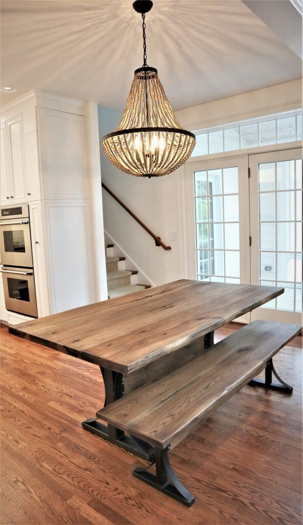 Recent Delivery Custom Hickory Table With Metal Arched Base