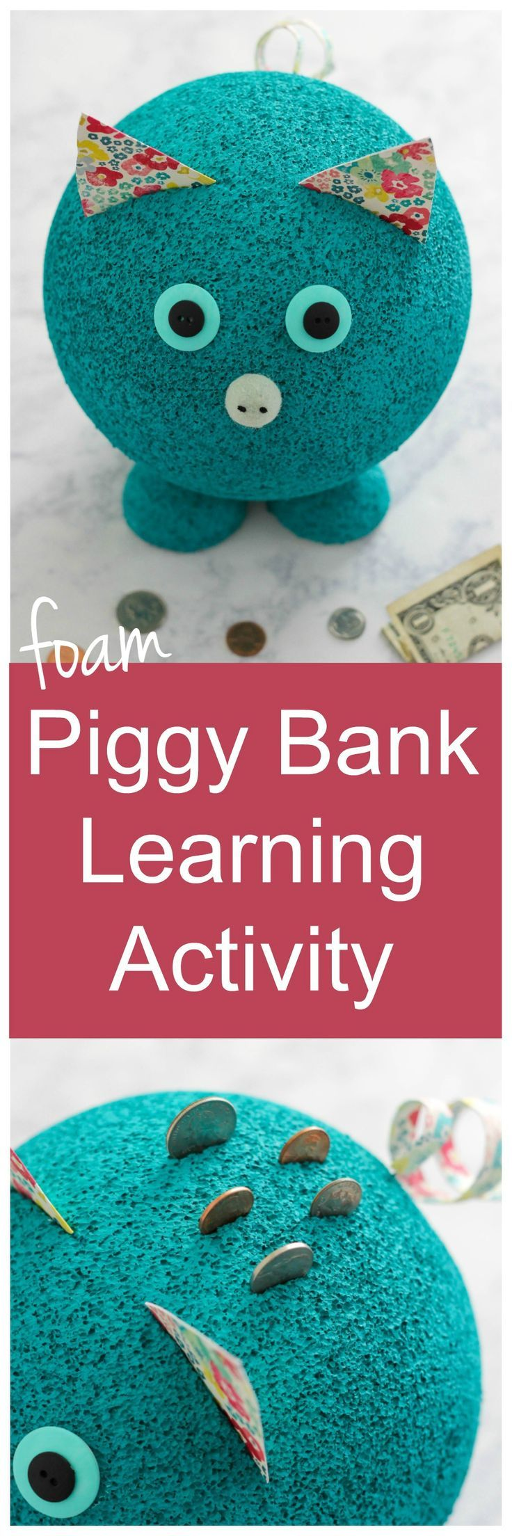 foam piggy bank learning activity