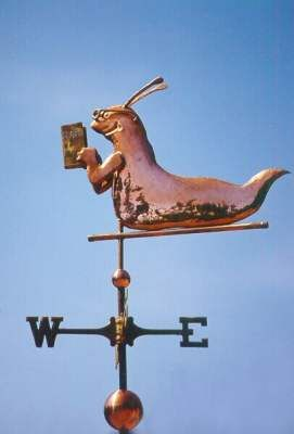 Bookworm - Banana Slug Weather Vane by West Coast Weather Vanes. This whimsical Bookworm weathervane is currently displayed on the University of Santa Cruz campus.