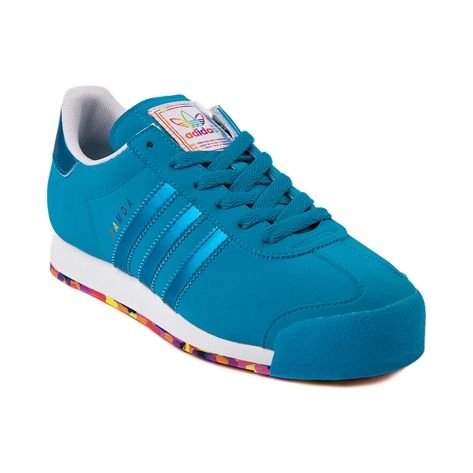 Shop for Womens adidas Samoa Athletic Shoe in Blue Blue at Journeys Shoes. Shop today for the hottest brands in mens shoes and womens shoes at Journeys.com.The always classic soccer inspired Samoa from adidas features a synthetic upper, reinforced toe, and padded mesh collar comfort. Includes a one of a kind rainbow color pop outsole! Available exclusively at Journeys and SHI!