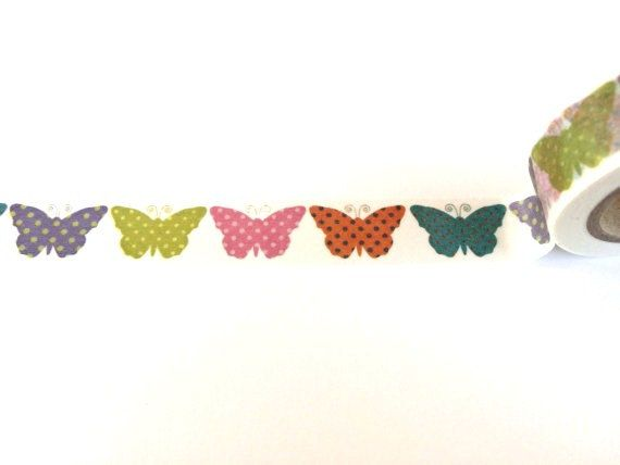 Colorful dotted butterflies washi tape cute by Dotscutesupplies