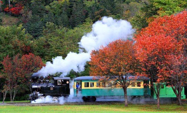 "紅葉の中を走る雨宮21号、北海道遠軽町「森林公園いこいの森」で。 Kōyō no naka o hashiru Amemiya 21-gō, Hokkaidō Engaru-chō ""Shinrin-kōen Ikoi no Mori"" de. Amemiya Nomor 21 yang berjalan melalui dedaunan merah, di ""Taman Hutan Ikoi"" kota Engaru, Hokkaido. http://www.asahi.com/articles/photo/AS20161009001683.html"