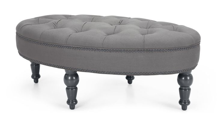 Bouji Oval Ottoman in graphite grey and slate | made.com