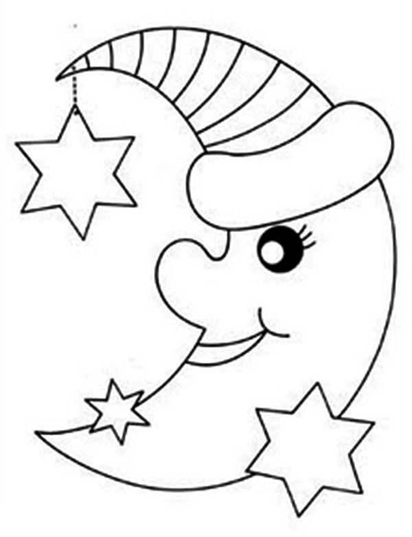 Moon And Stars Coloring Pages Printable Printable Coloring Page